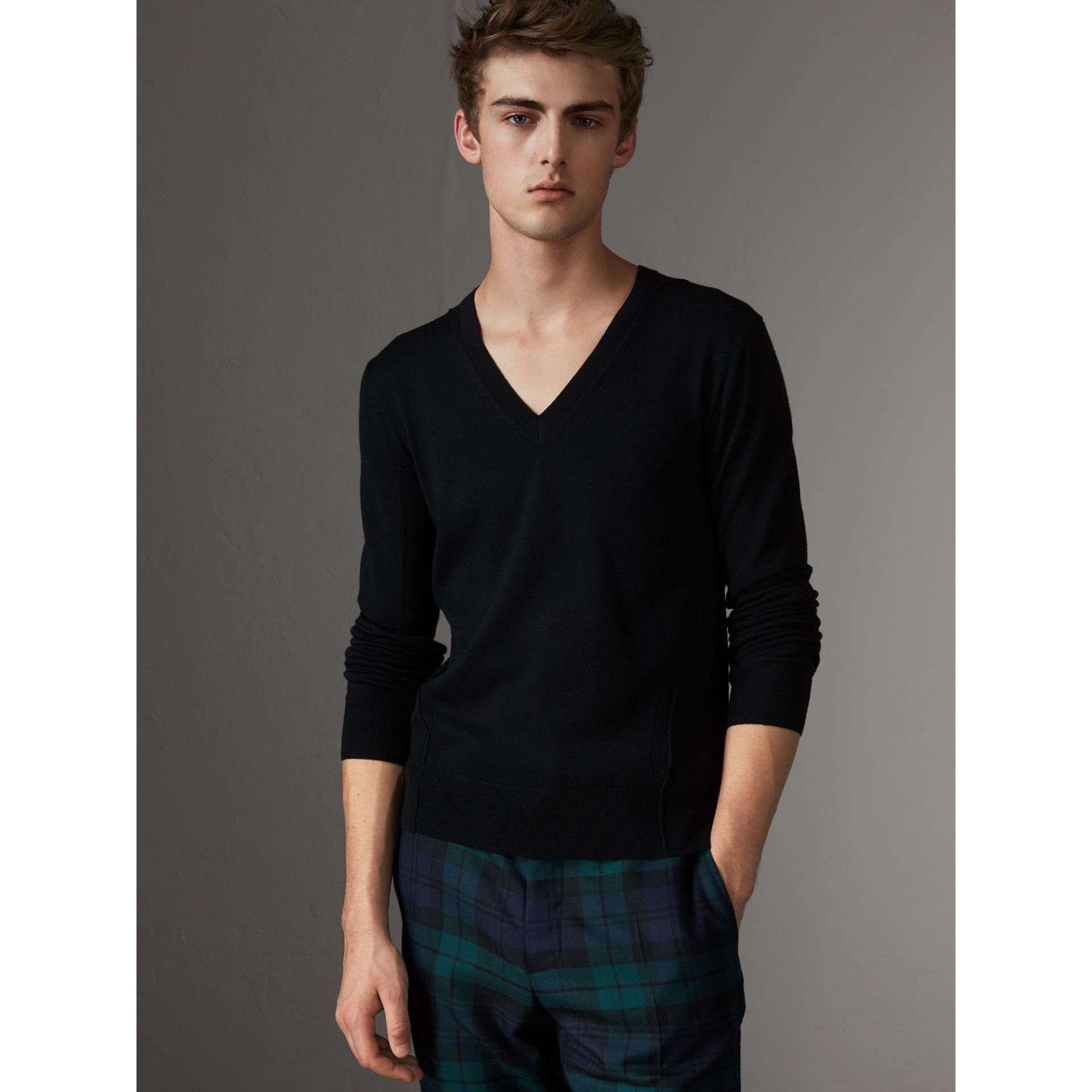 Check Detail Merino Wool V-neck Sweater in Black - Men | Burberry - gallery image 1