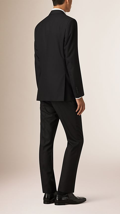Black Classic Fit Wool Part-canvas Suit Black - Image 2