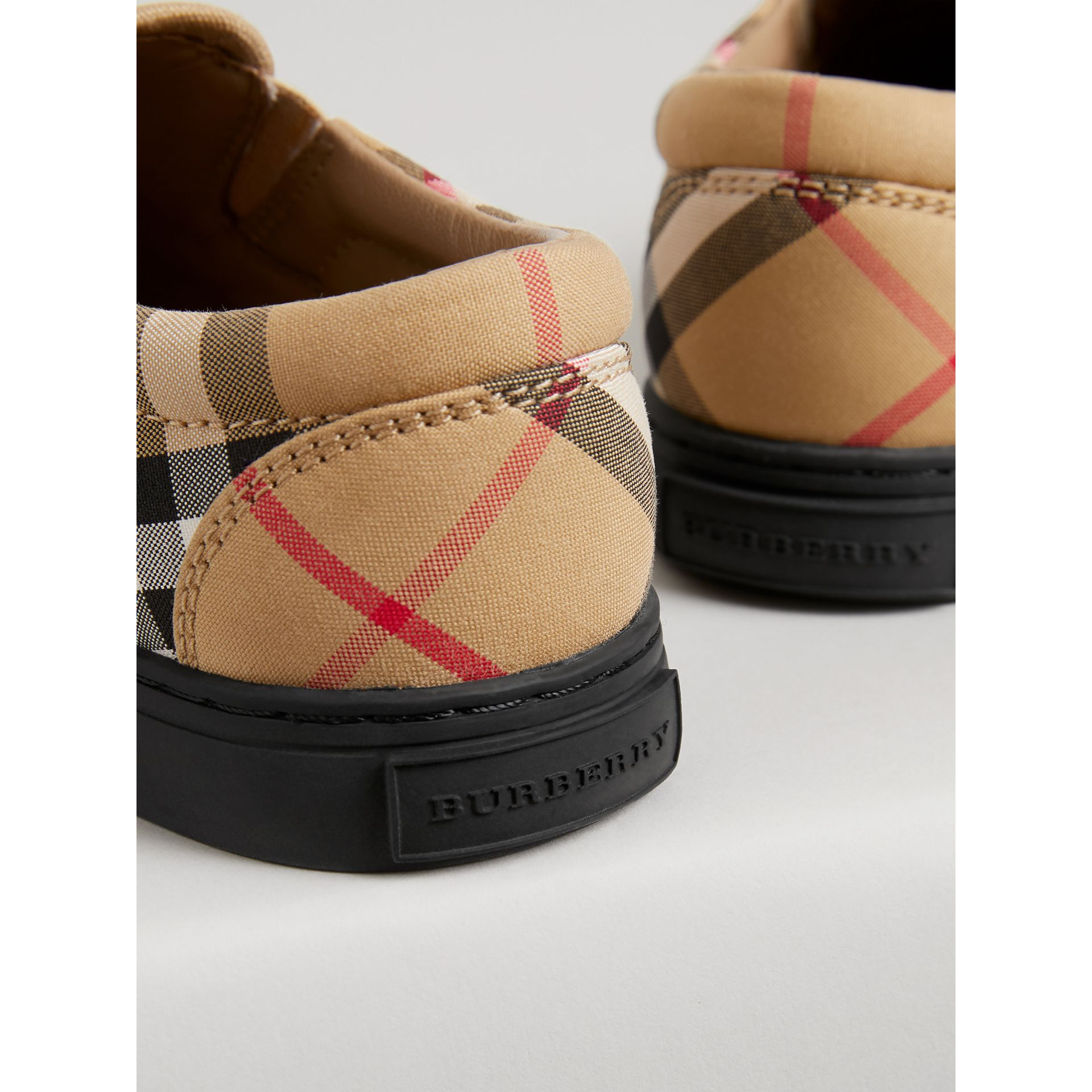 Vintage Check and Leather Slip-on Sneakers in Antique Yellow/black | Burberry Australia - gallery image 1