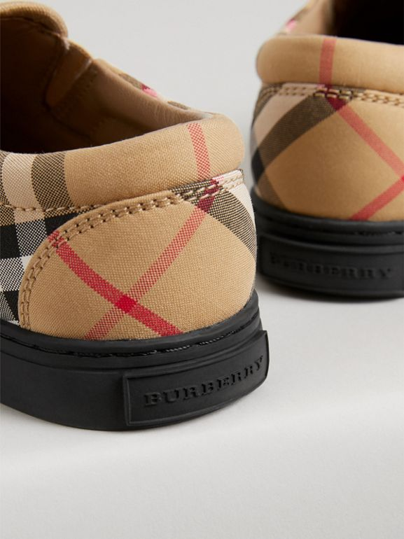 Vintage Check and Leather Slip-on Sneakers in Antique Yellow/black | Burberry Australia - cell image 1
