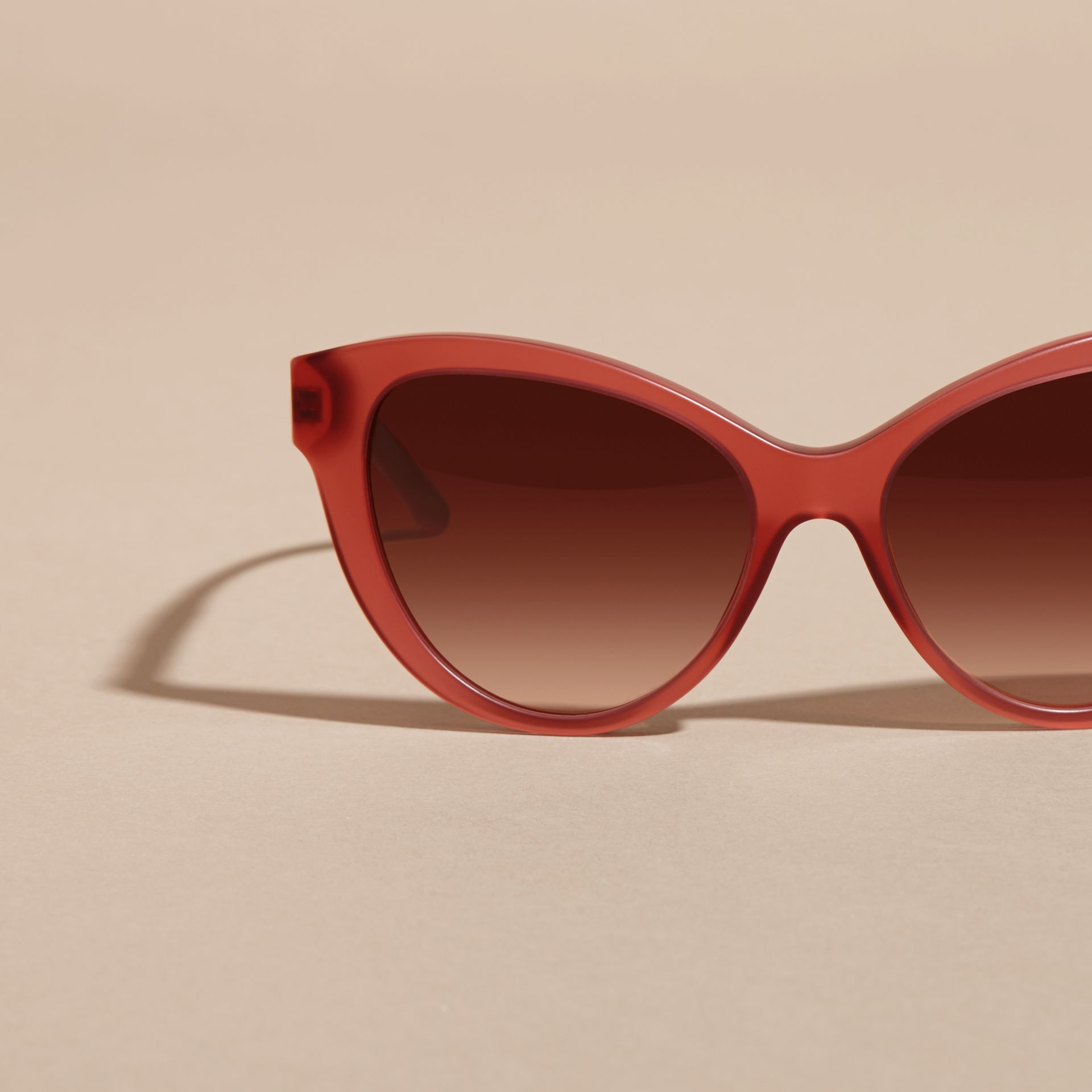 Red 3D Check Cat-eye Sunglasses Red - gallery image 3