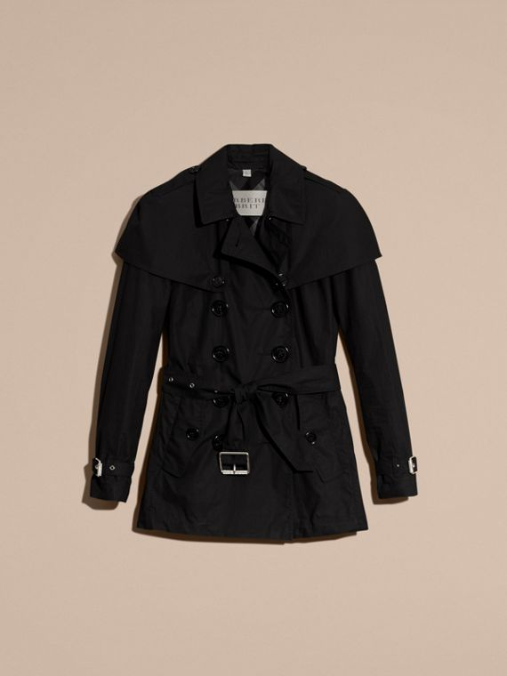Black Lightweight Cape Detail Cotton Trench Coat Black - cell image 3