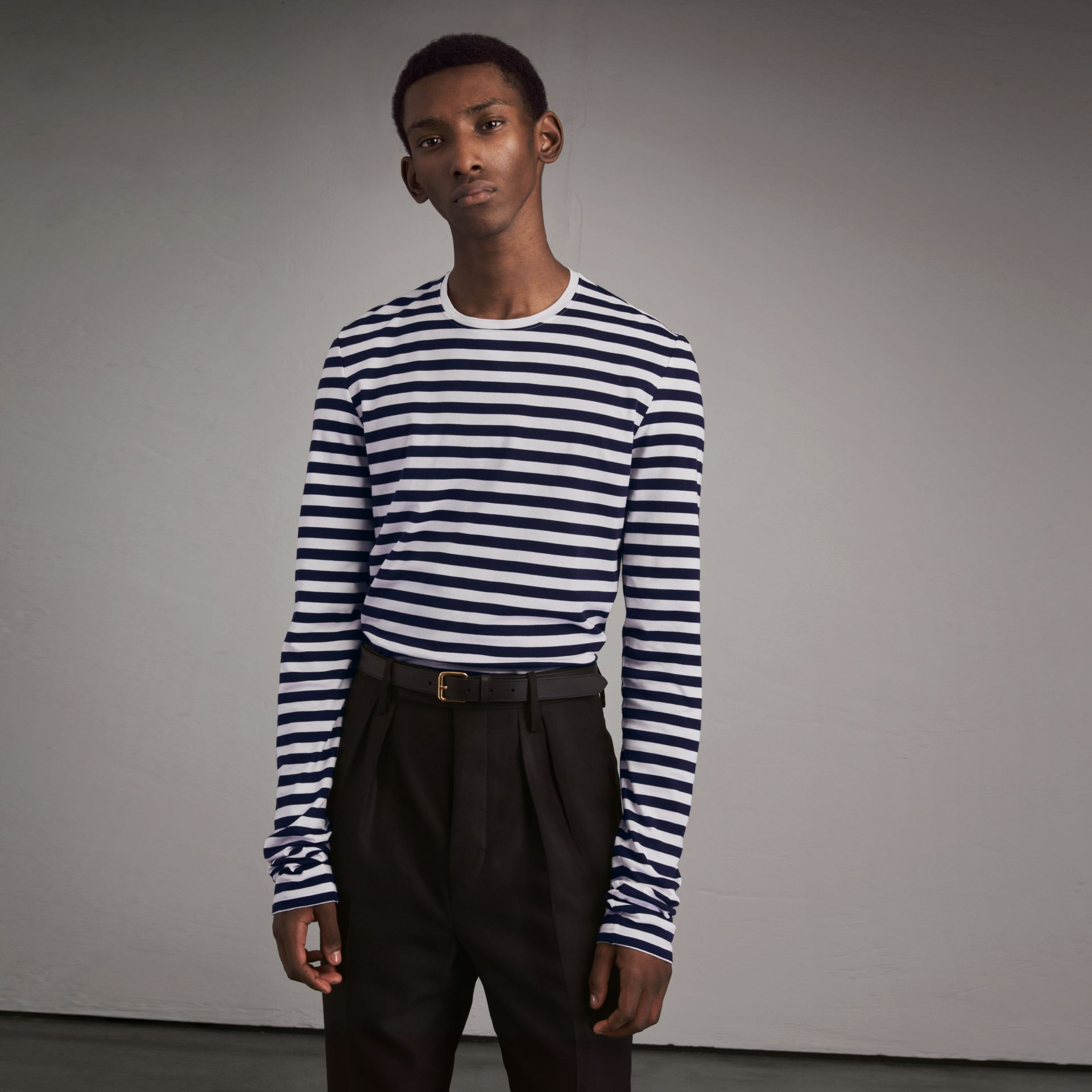 Unisex Pallas Helmet Motif Breton Stripe Cotton Top in Indigo - Men | Burberry - gallery image 1