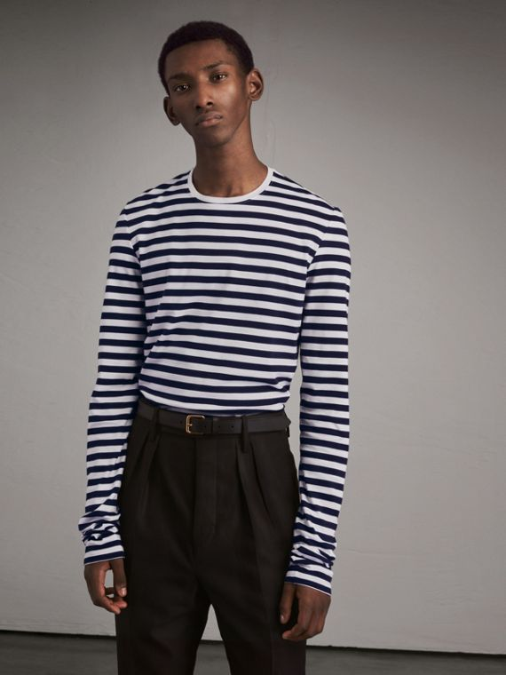 Unisex Pallas Helmet Motif Breton Stripe Cotton Top - Men | Burberry