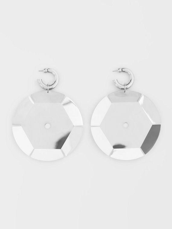 Palladium-plated Paillette Hoop Earrings