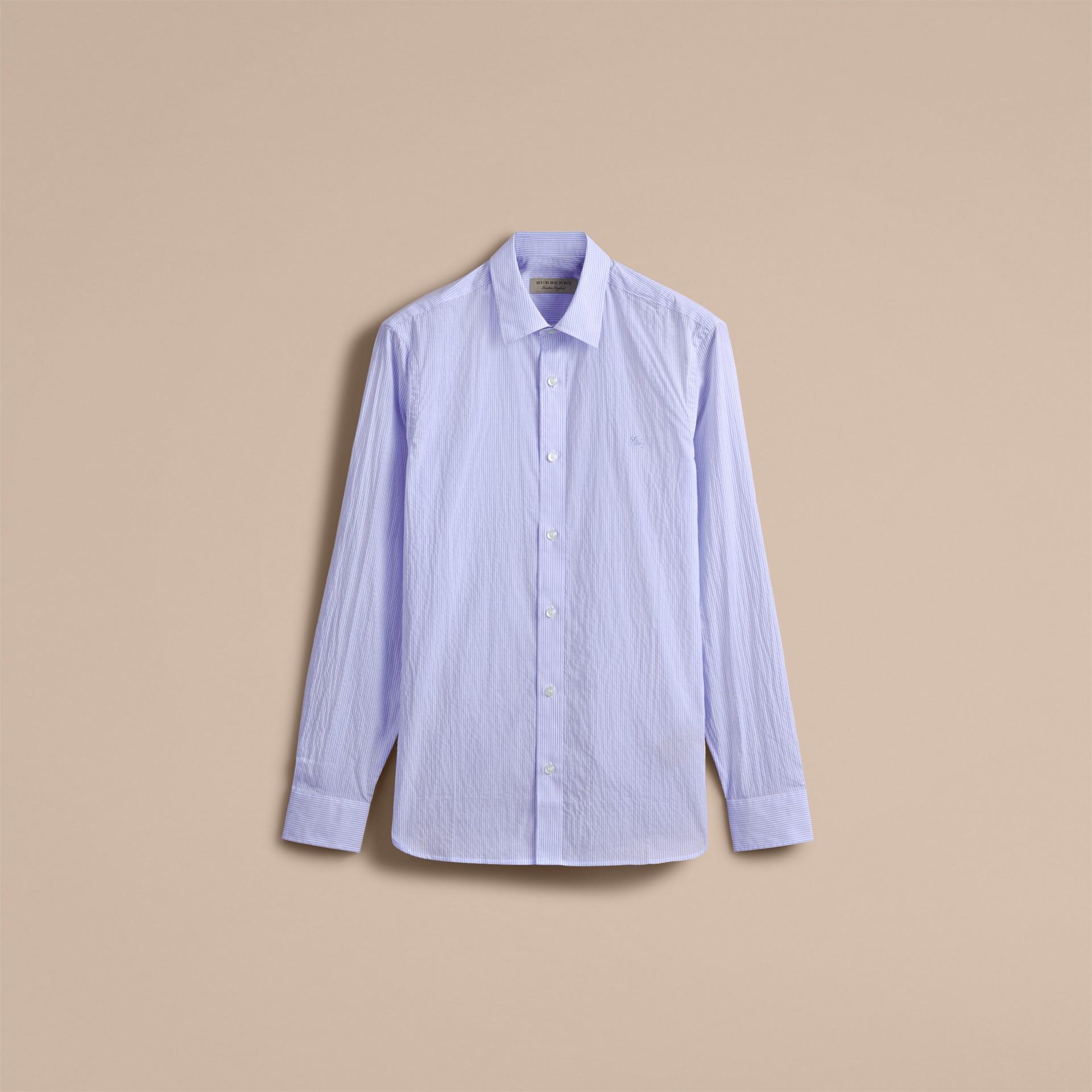 Striped Cotton Blend Shirt Light Blue - gallery image 4