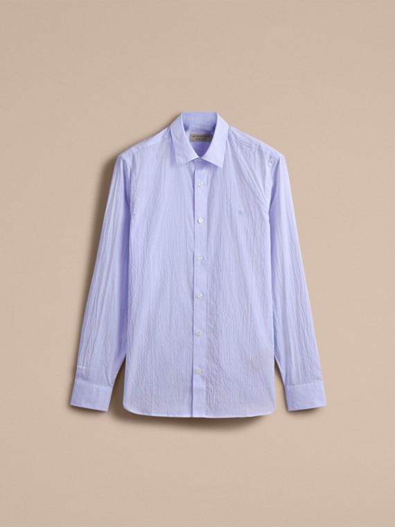 Striped Cotton Blend Shirt Light Blue - cell image 3