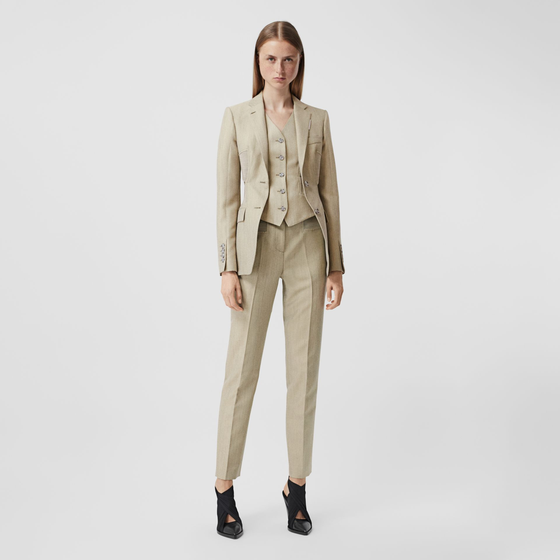 Technical Wool Reconstructed Trousers in Grey - Women | Burberry - gallery image 0