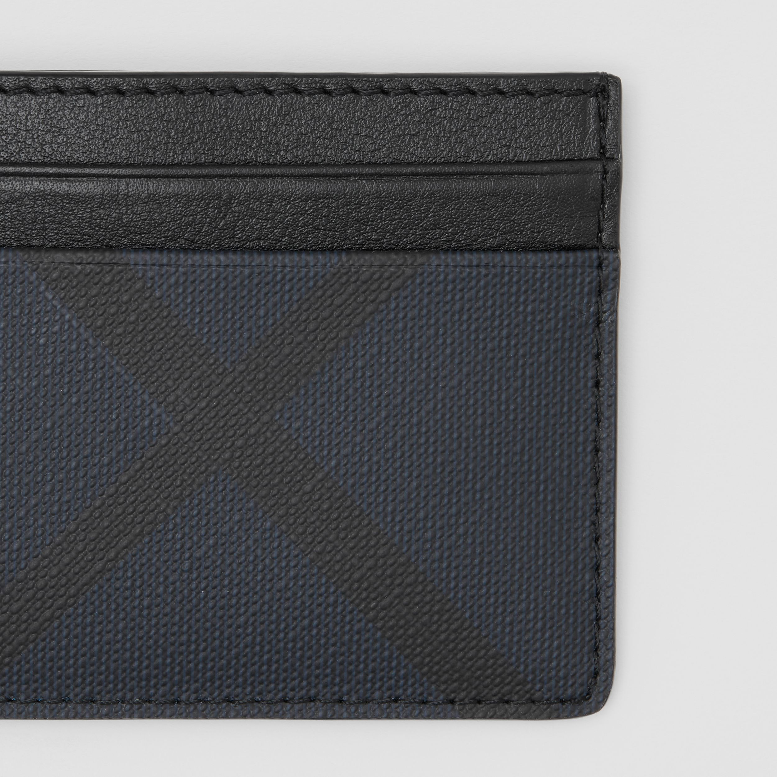 London Check and Leather Card Case in Navy - Men | Burberry Canada - 2
