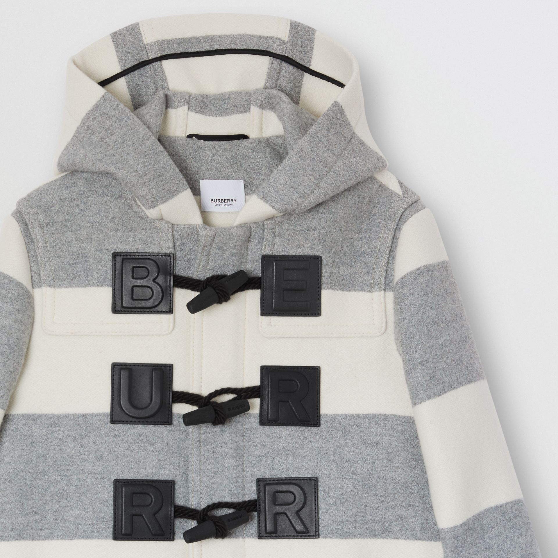 Logo Detail Striped Wool Cashmere Blend Duffle Coat in Grey | Burberry - gallery image 4
