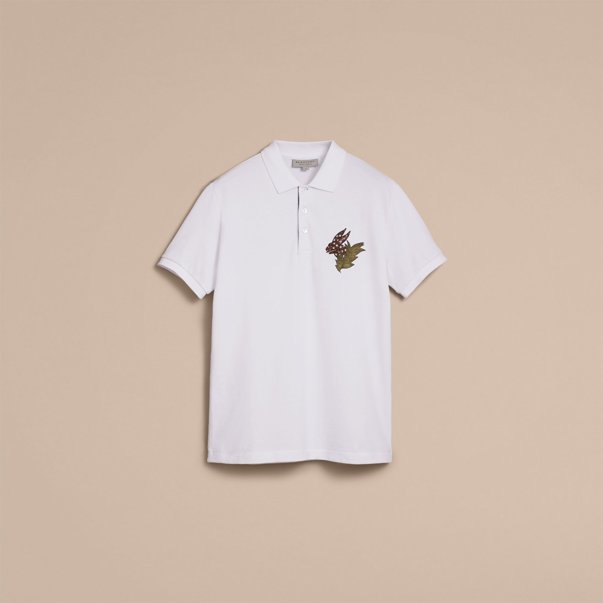 Beasts Motif Cotton Piqué Polo Shirt in White - gallery image 4