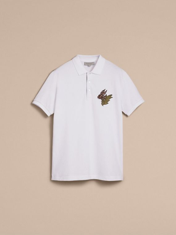 Beasts Motif Cotton Piqué Polo Shirt in White - Men | Burberry - cell image 3