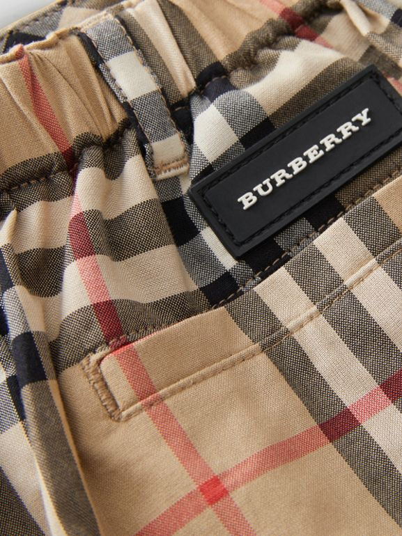 Vintage Check Cotton Poplin Tailored Shorts in Archive Beige - Children | Burberry - cell image 1