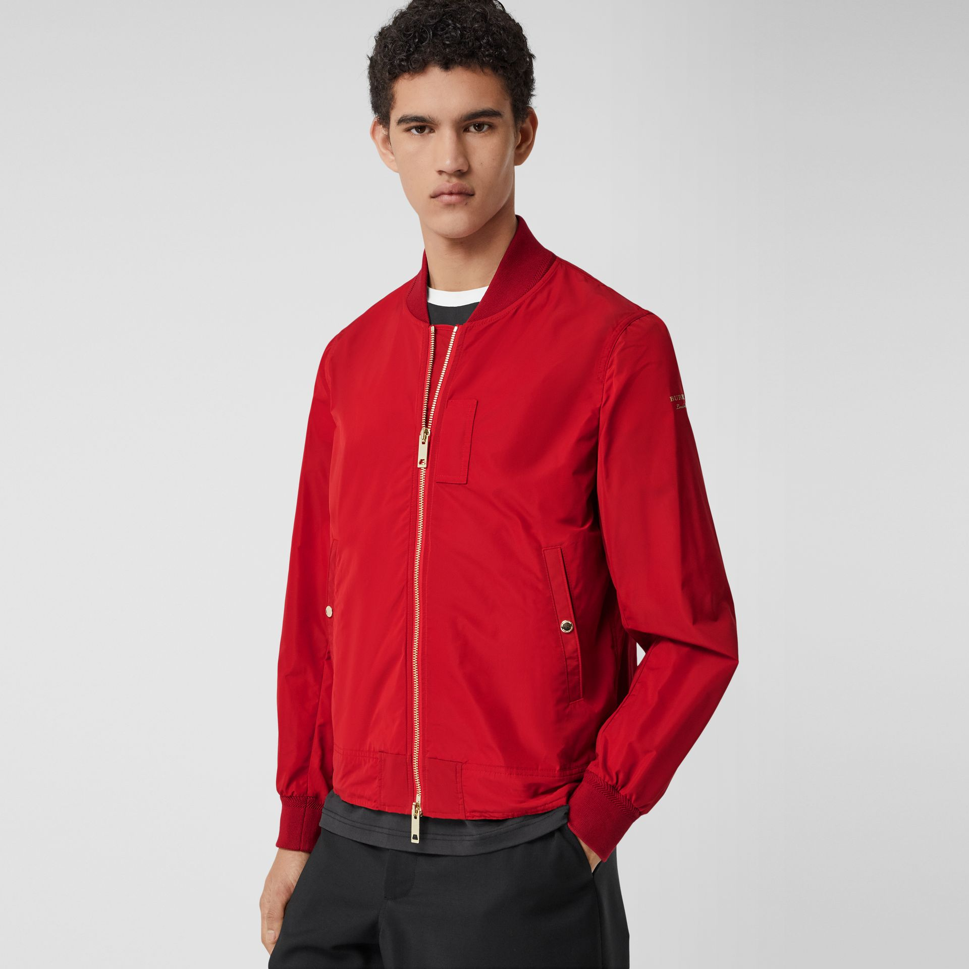 Logo Print Shape-memory Taffeta Bomber Jacket in Military Red - Men | Burberry - gallery image 4