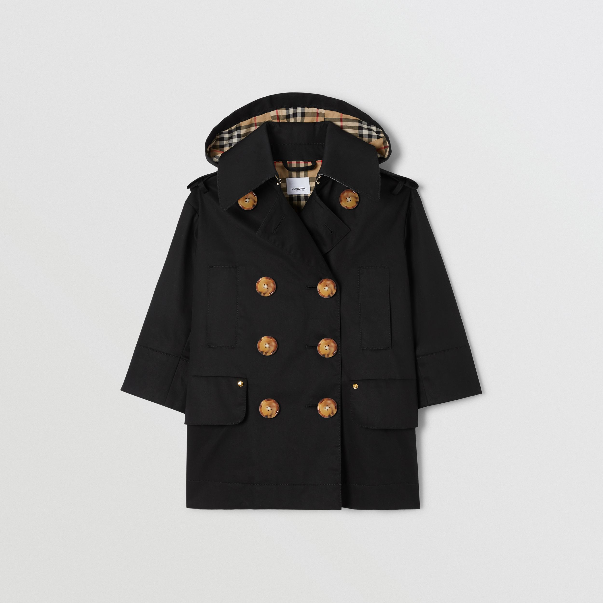 Cotton Twill Hooded Trench Coat in Black | Burberry - 1
