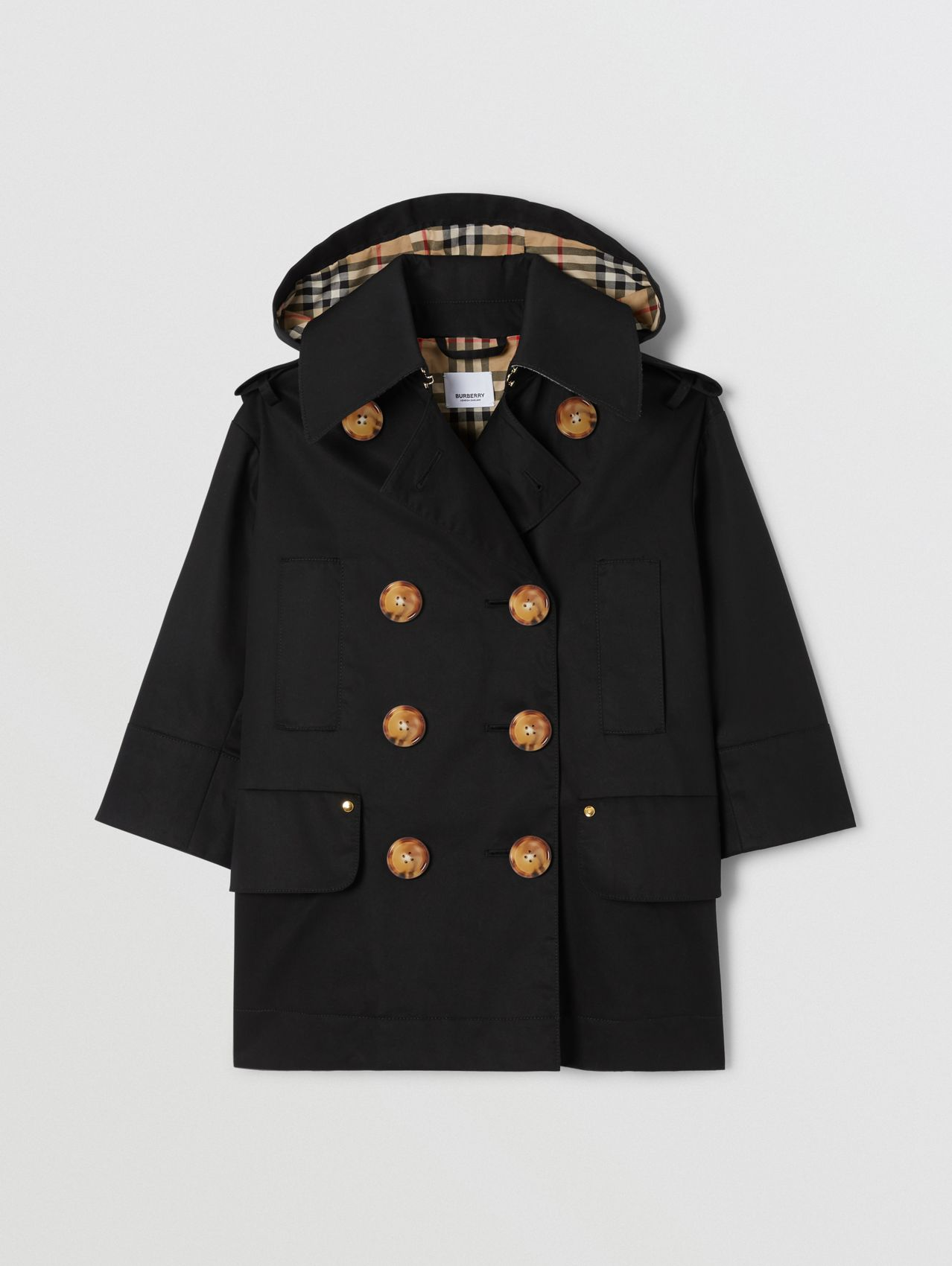 Cotton Twill Hooded Trench Coat (Black)