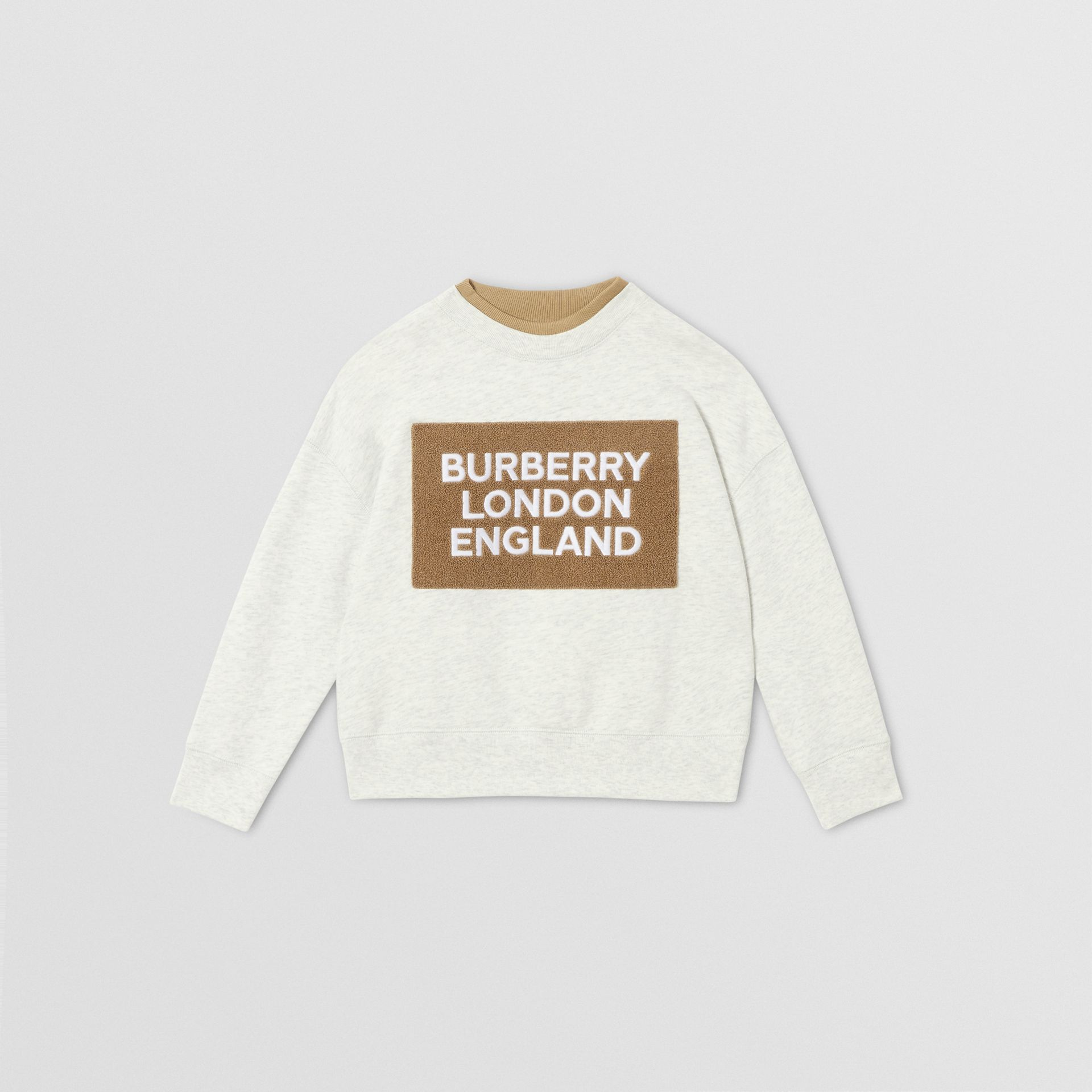 Logo Detail Cotton Sweatshirt in White Melange | Burberry - gallery image 0