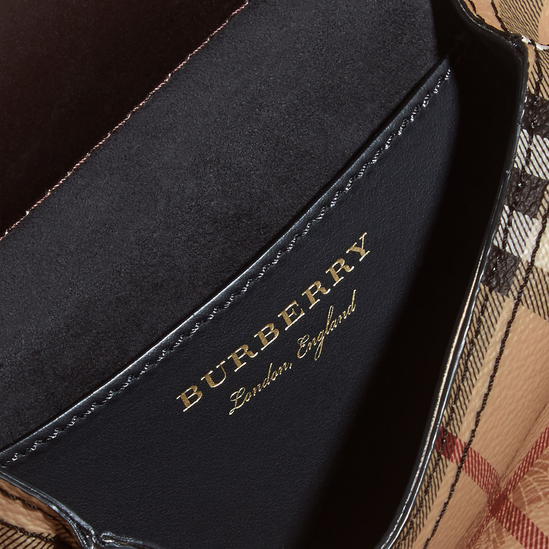 The Baby Bridle Bag in Leather and Haymarket Check in Dark Clove Brown - Women | Burberry - gallery image 5