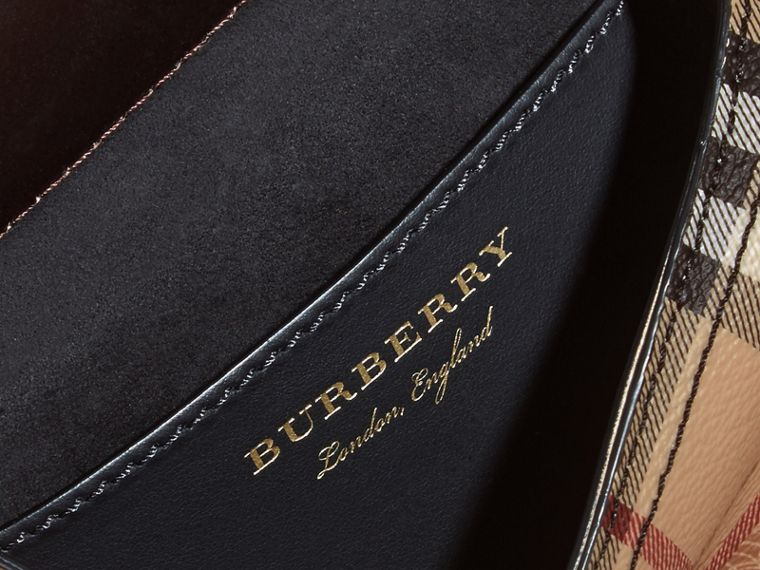 The Baby Bridle Bag in Leather and Haymarket Check in Dark Clove Brown - Women | Burberry - cell image 4