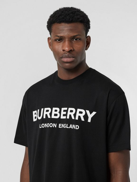 Logo Print Cotton T-shirt in Black - Men | Burberry - cell image 1