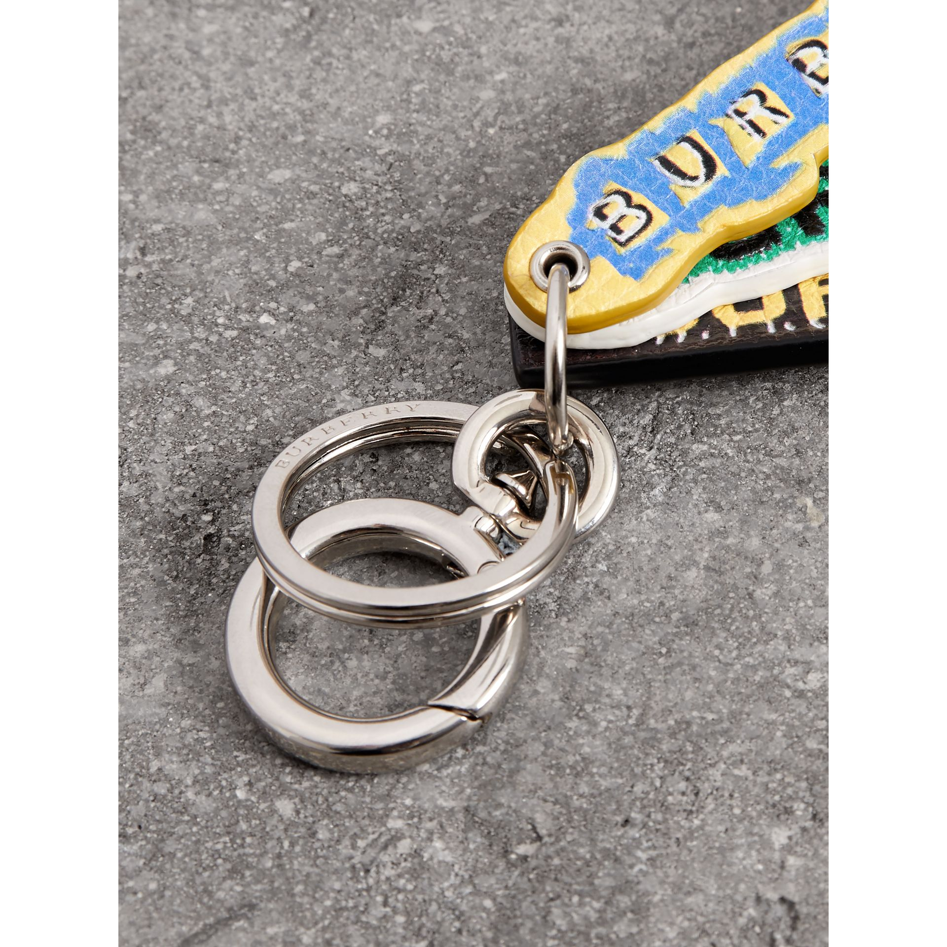 Tag Print Leather Key Ring in Multicolour | Burberry Australia - gallery image 1