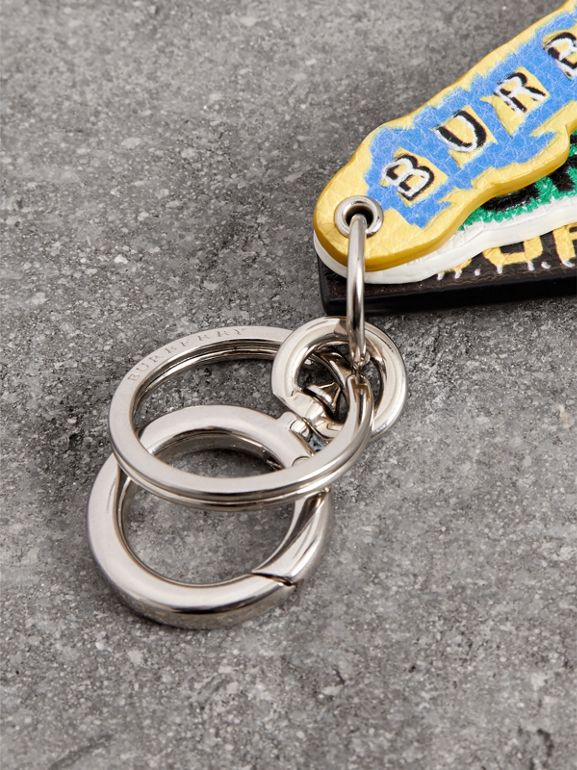 Tag Print Leather Key Ring in Multicolour | Burberry Australia - cell image 1