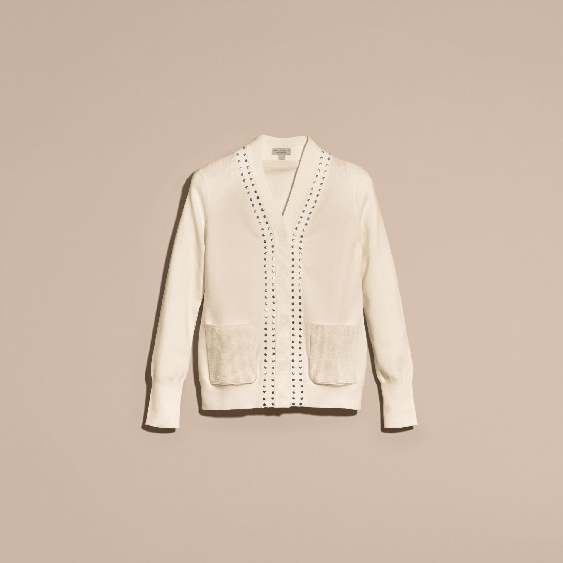 Natural white Cotton V-neck Cardigan with Studs - gallery image 4