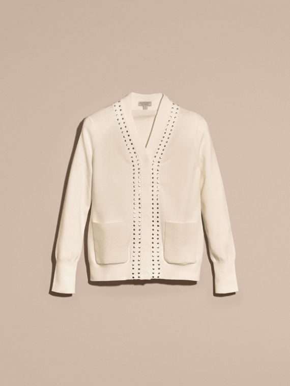Natural white Cotton V-neck Cardigan with Studs - cell image 3