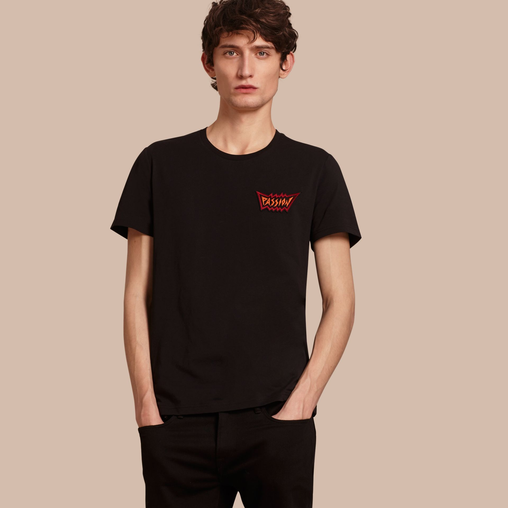 Passion Motif Cotton T-shirt in Black - gallery image 1