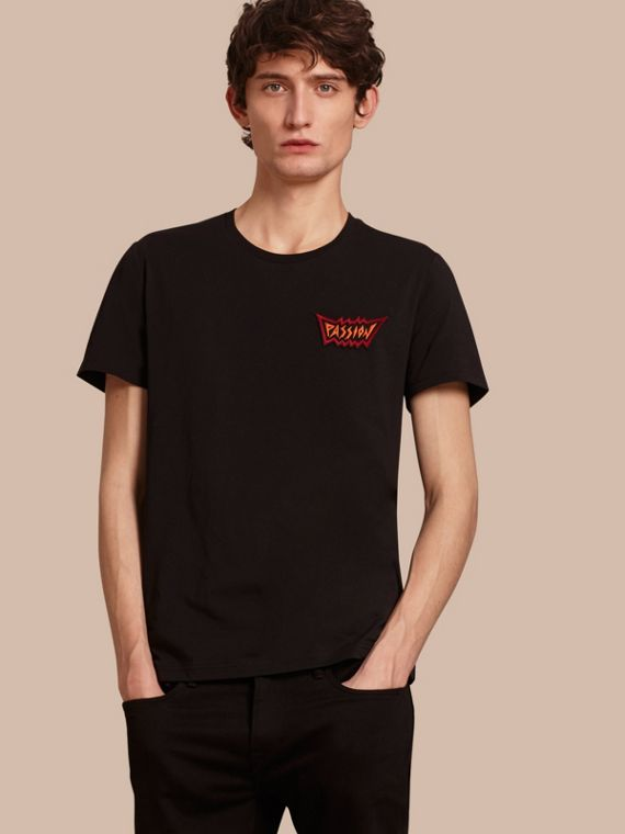Passion Motif Cotton T-shirt Black