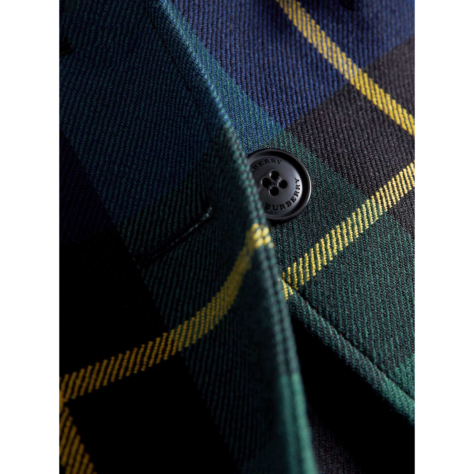 Tartan Wool Coat in Pine Green - Girl | Burberry - gallery image 1