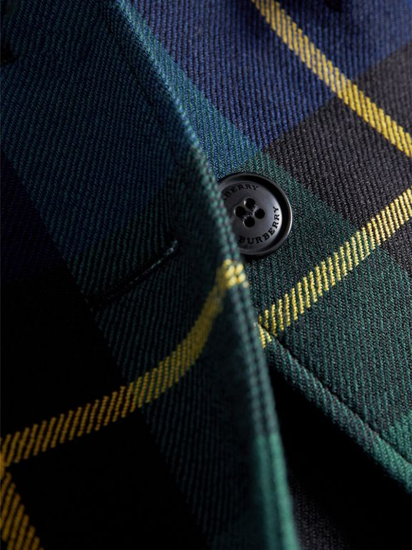 Tartan Wool Coat in Pine Green | Burberry United Kingdom - cell image 1