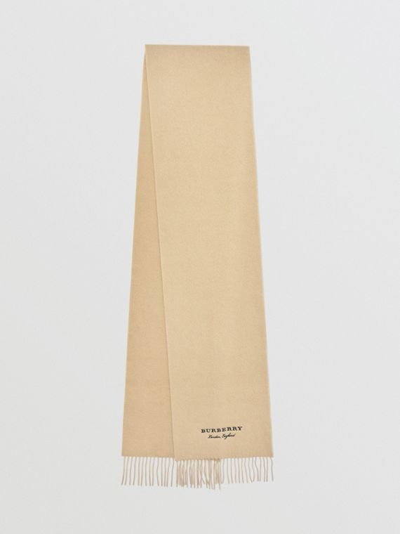 Embroidered Cashmere Fleece Scarf in Pale Nude