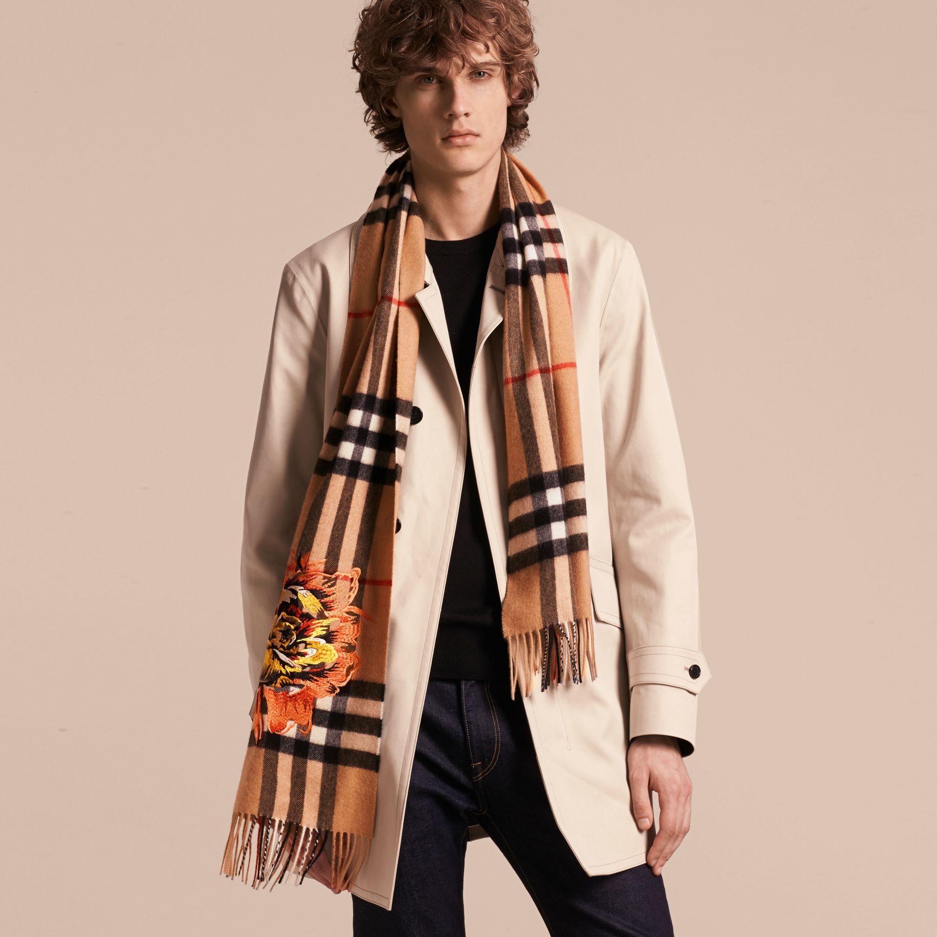 Camel/vibrant orange The Classic Cashmere Scarf with Embroidered Peony Rose - gallery image 4