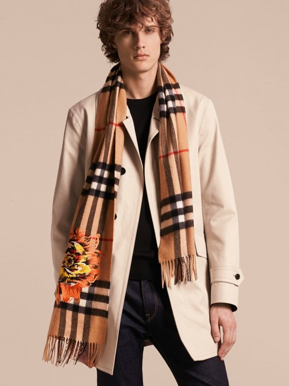 Camel/vibrant orange The Classic Cashmere Scarf with Embroidered Peony Rose - cell image 3