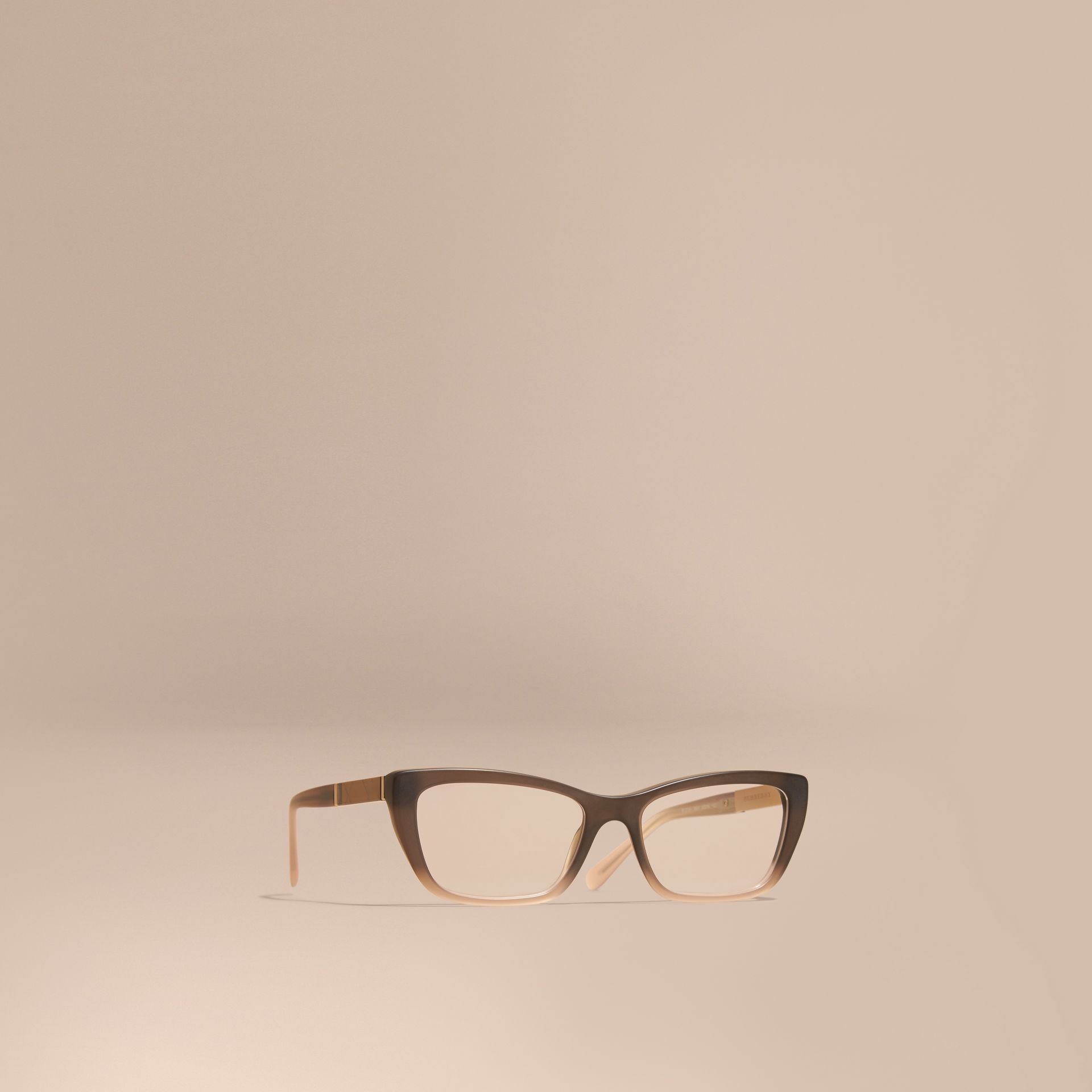 Check Detail Rectangular Cat-eye Optical Frames Carnation Melange - gallery image 1