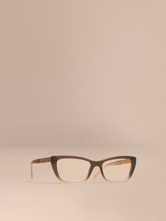 Check Detail Rectangular Cat-eye Optical Frames Carnation Melange