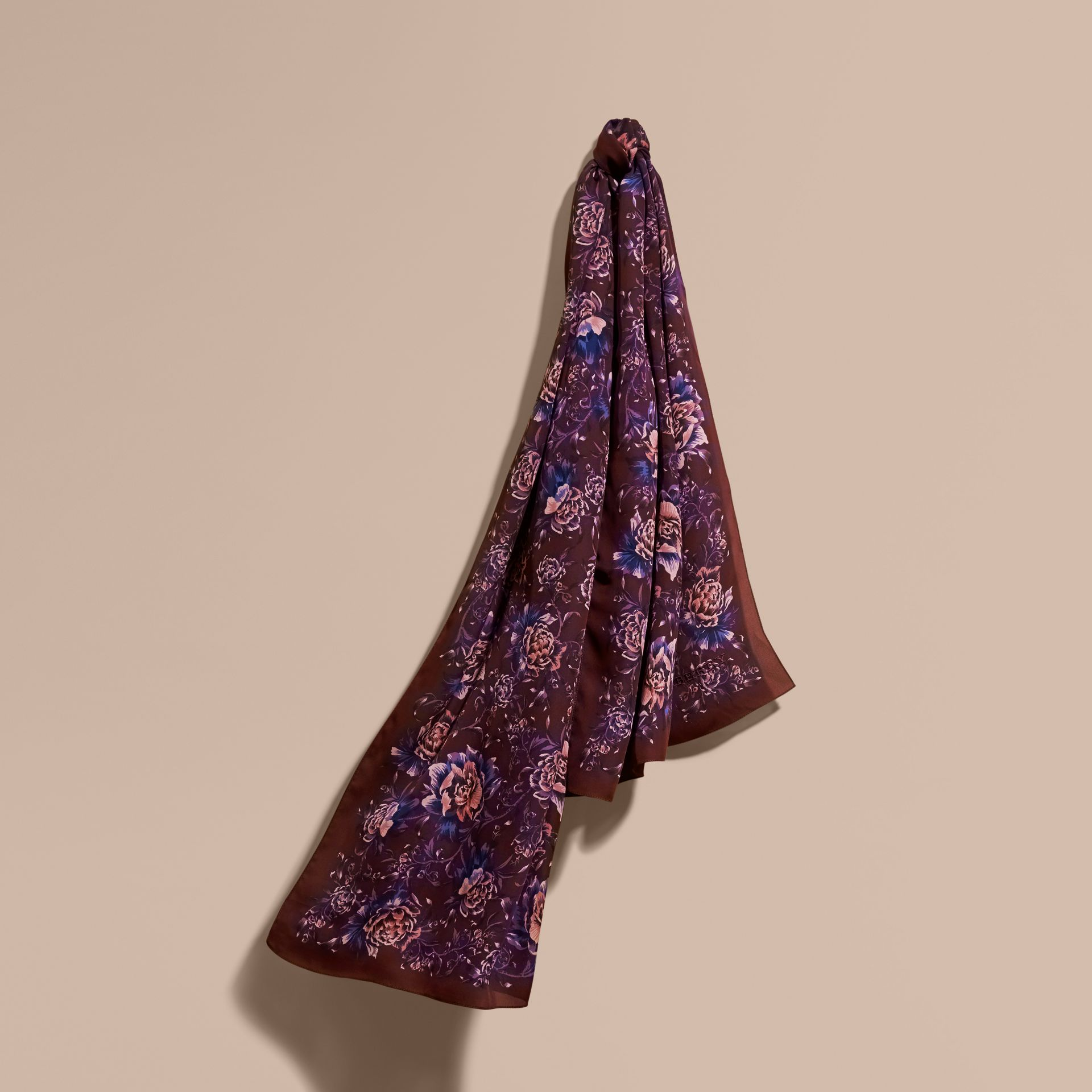Peony Rose Print Silk Scarf in Deep Claret - Women | Burberry - gallery image 1