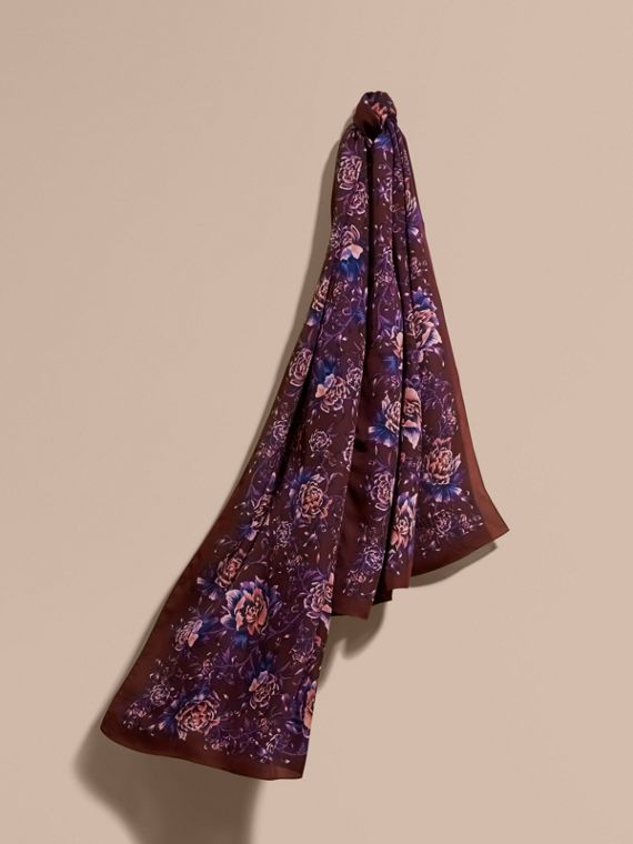 Peony Rose Print Silk Scarf in Deep Claret - Women | Burberry