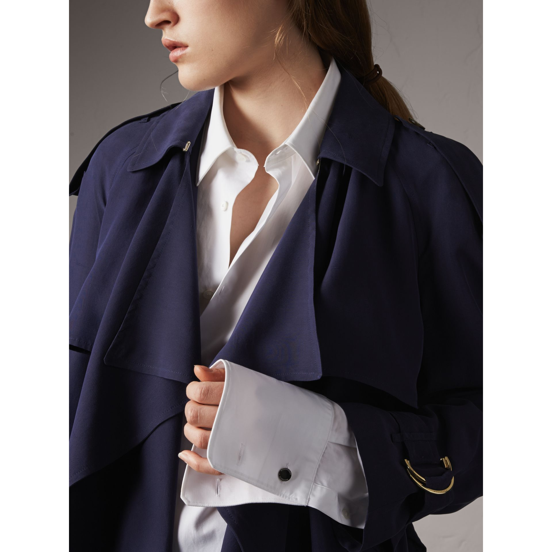 Silk Wrap Trench Coat in Navy - gallery image 5