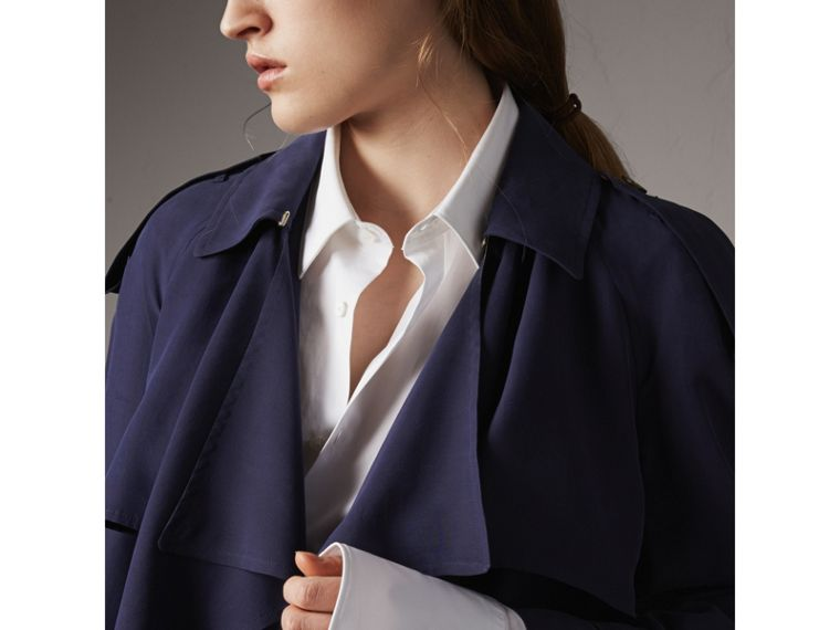 Silk Wrap Trench Coat in Navy - cell image 4