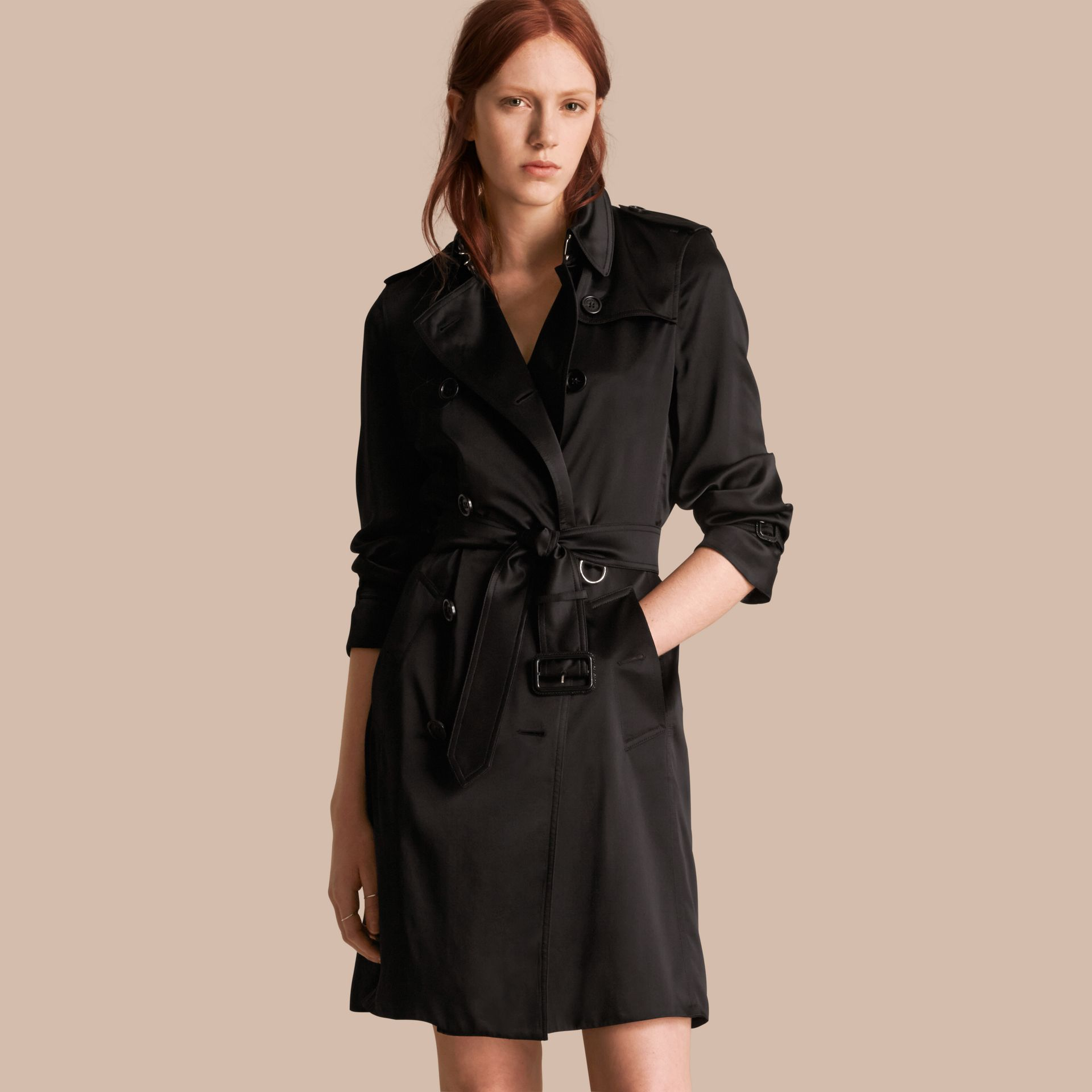 Black Silk Trench Coat - gallery image 1