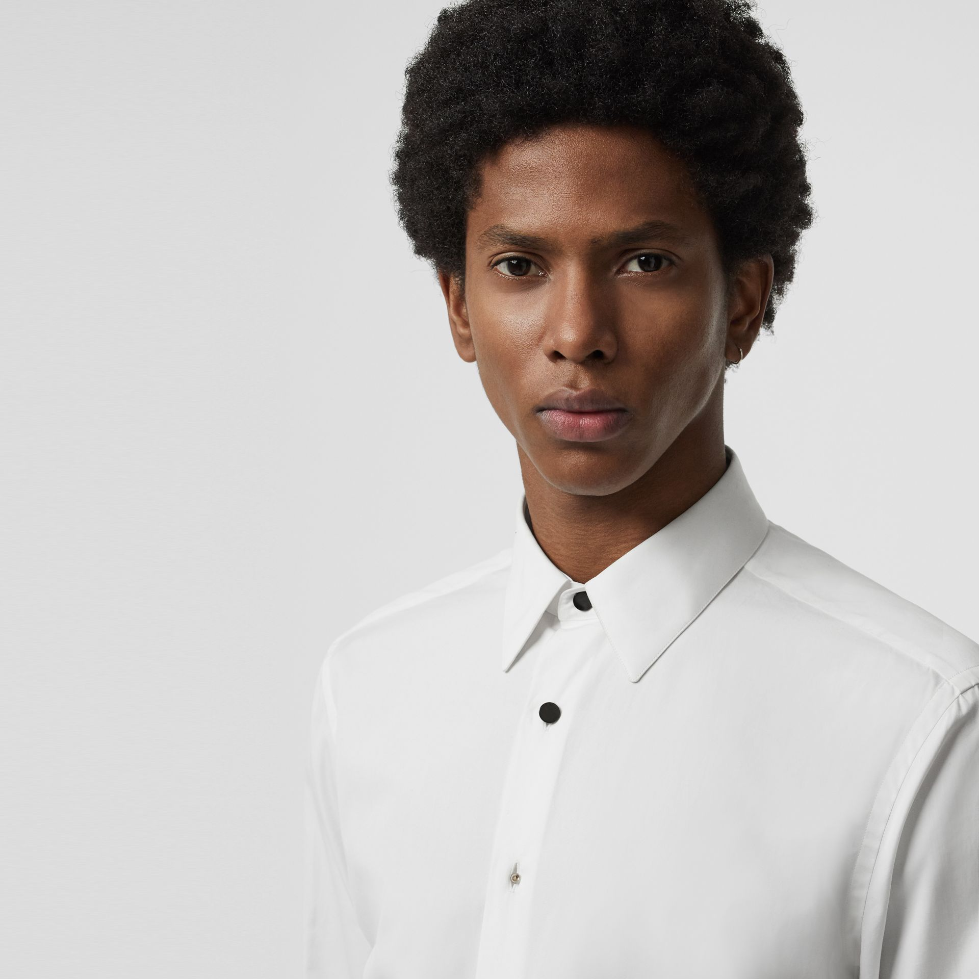 Classic Fit Cotton Poplin Dress Shirt in White - Men | Burberry - gallery image 1