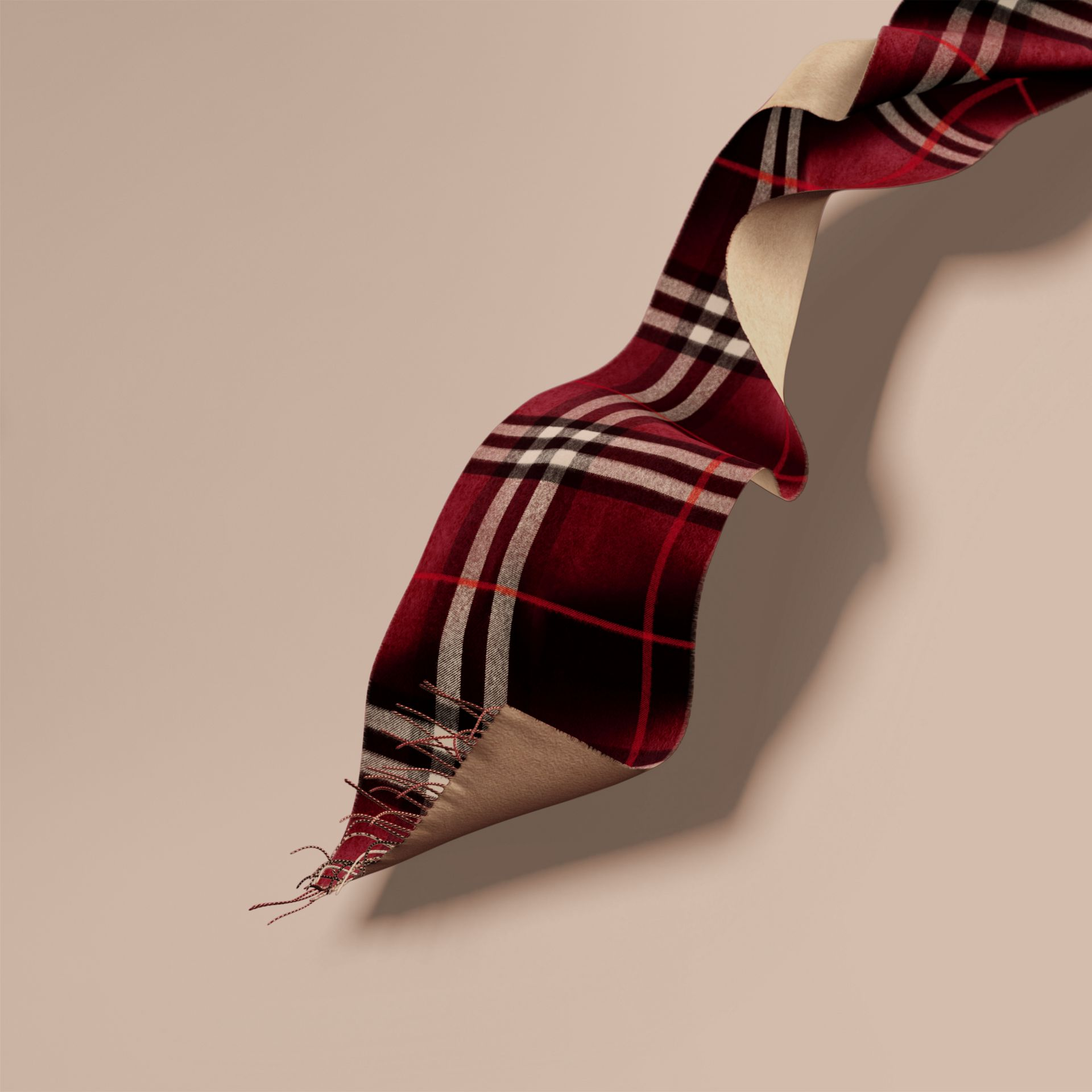 Reversible Check Cashmere and Block-colour Scarf in Claret - gallery image 1