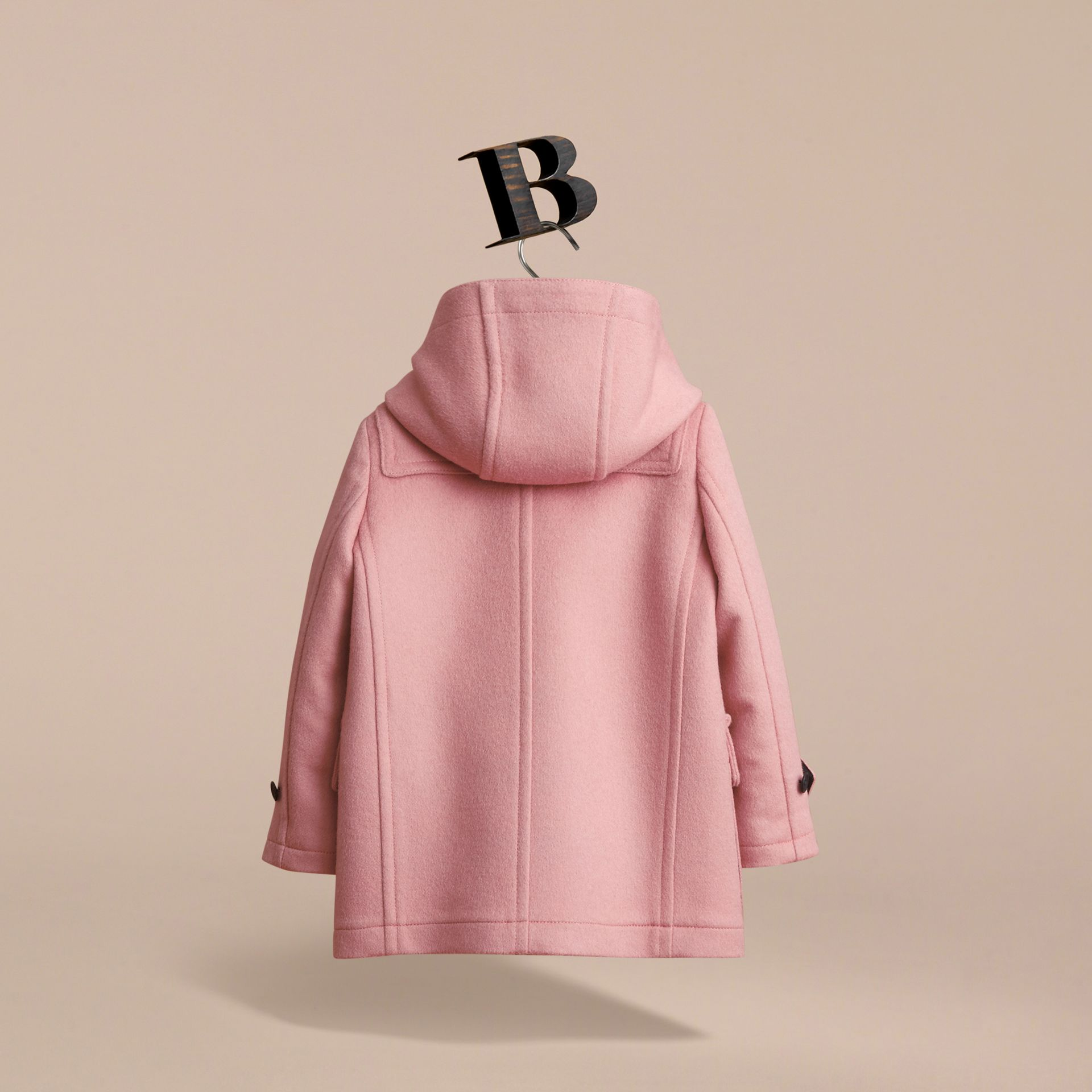 Wool Duffle Coat with Check-lined Hood in Pale Rose - Girl | Burberry - gallery image 3