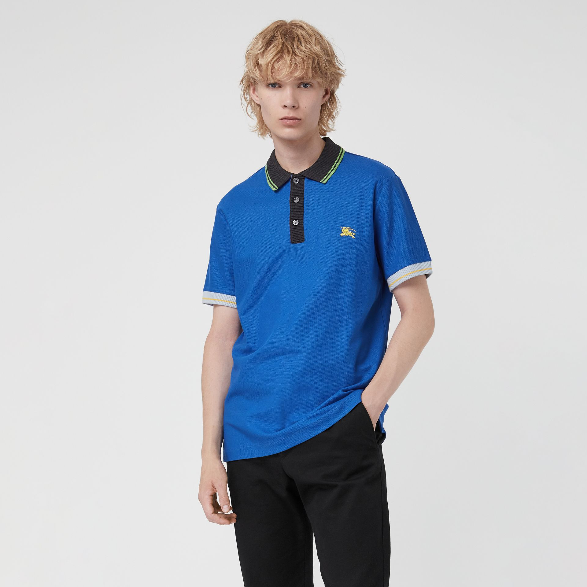 Tipped Cotton Piqué Polo Shirt in Cerulean Blue - Men | Burberry United Kingdom - gallery image 0