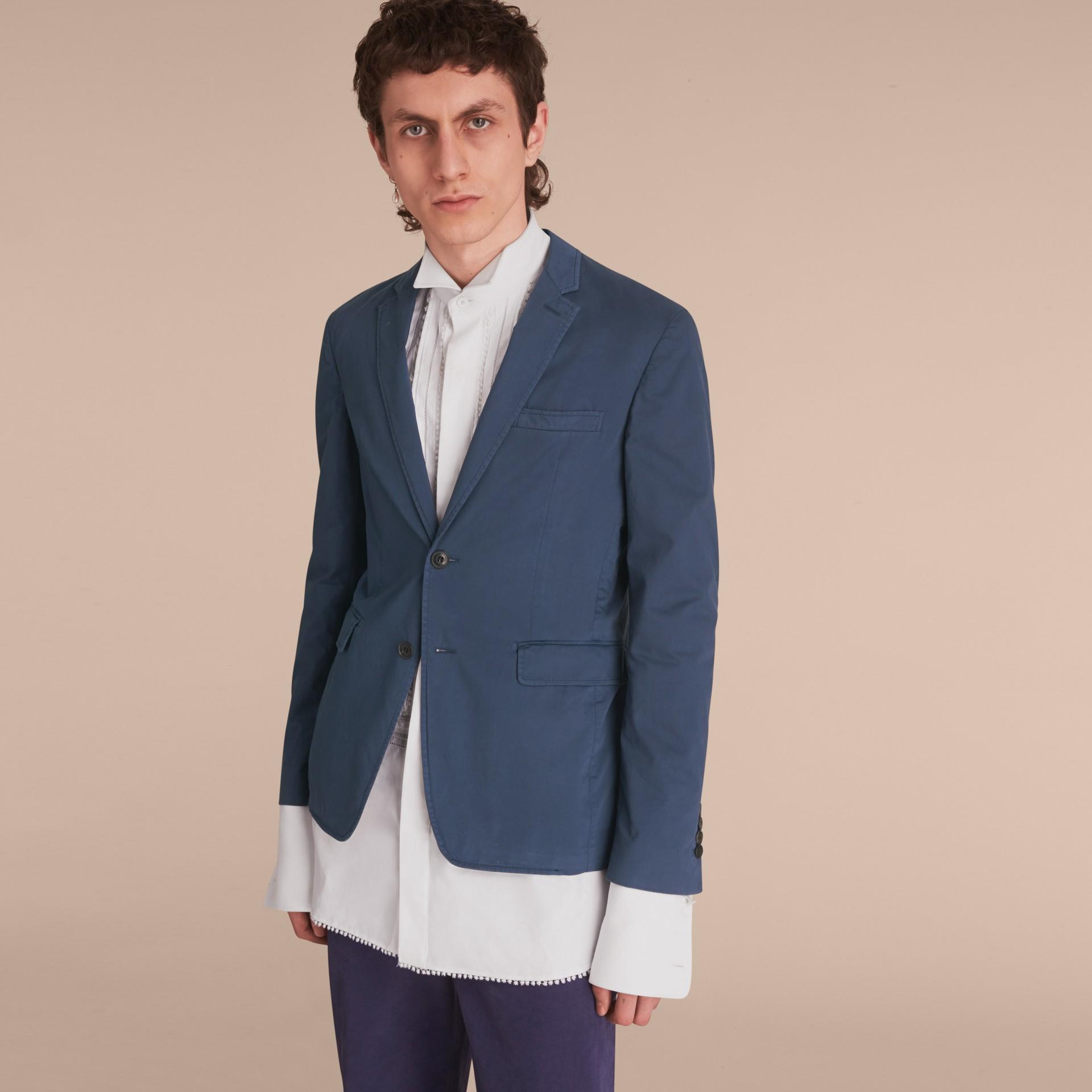 Slim Fit Stretch-cotton Blazer Navy - gallery image 8
