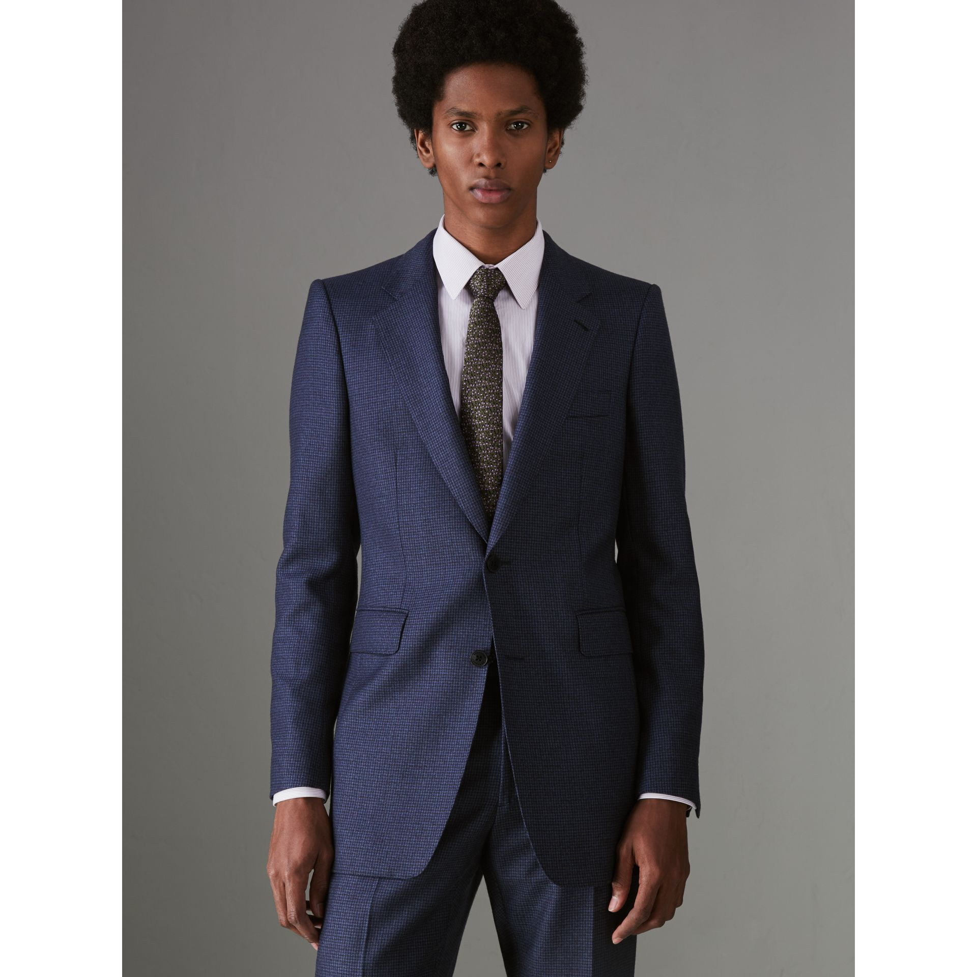 Slim Fit Puppytooth Wool Suit in Navy - Men | Burberry - gallery image 5