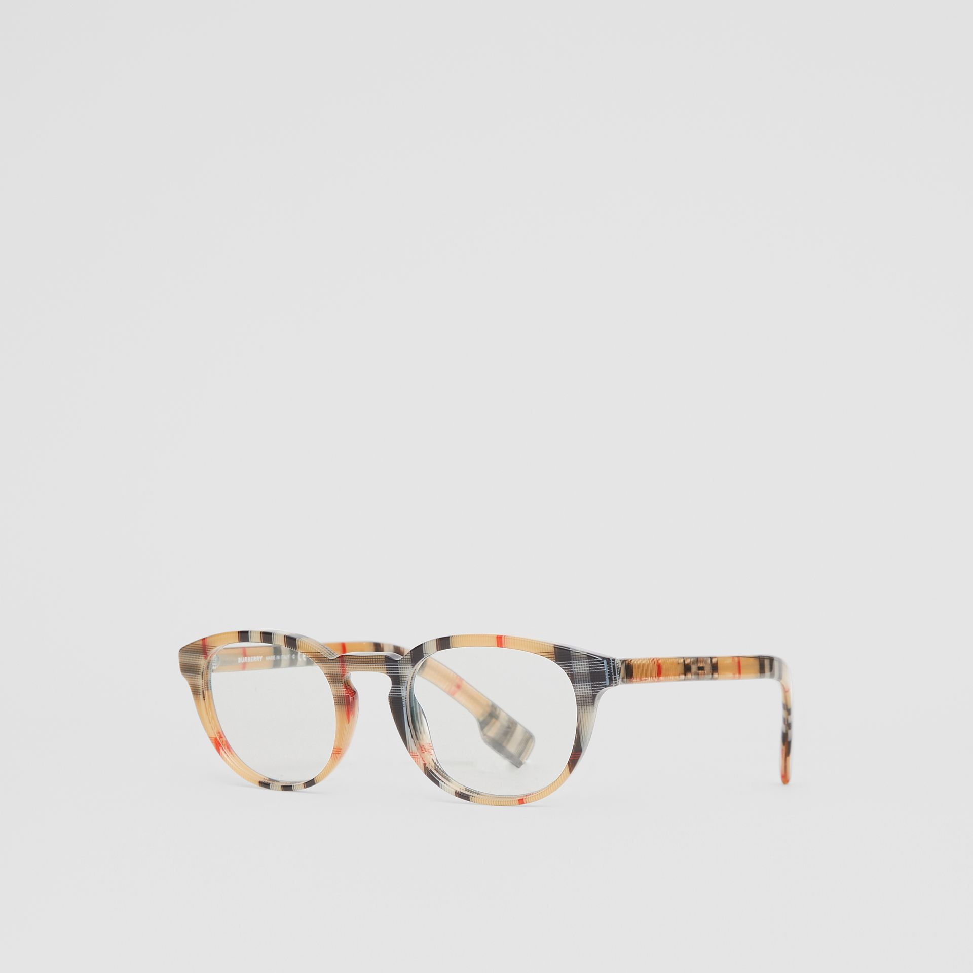 Vintage Check Round Optical Frames in Antique Yellow - Men | Burberry - gallery image 5