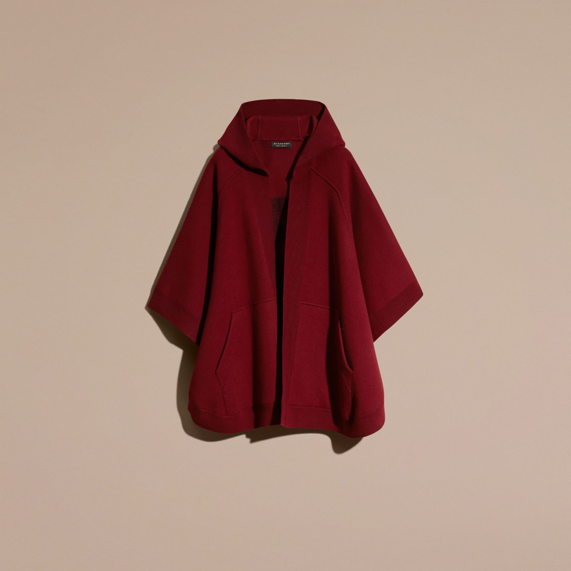 Deep red Wool Cashmere Blend Hooded Poncho Deep Red - gallery image 4